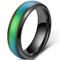 4mm Stainless Steel Temperature Sensative Color Changing Wedding Band Mood Ring