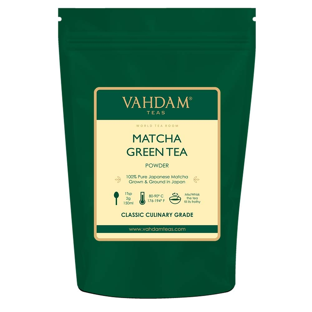 VAHDAM, Matcha Green Tea Powder SUPERFOOD (25 Servings) 100% Pure Authentic Japanese Matcha Powder   Classic Culinary Grade Green Tea Matcha 🍵 137x Anti-OXIDANTS   Matcha Latte Mix & Smoothies