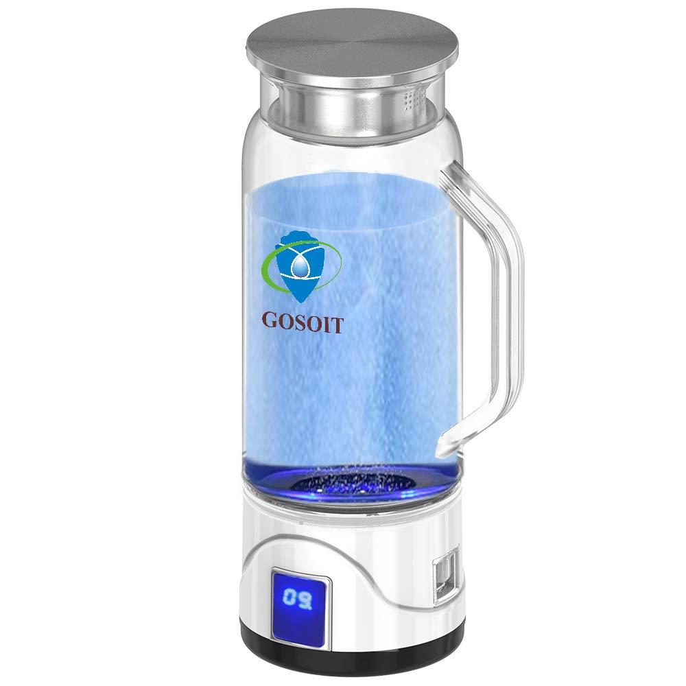 GOSOIT Hydrogen Alkaline Water Maker Machine Generator Hydrogen Water Bottle Pitcher Ionize System with SPE & PEM Tech,US Proton Membrane, Make Hydrogen Content to 800-1200 PPB, PH 7.5-9.5