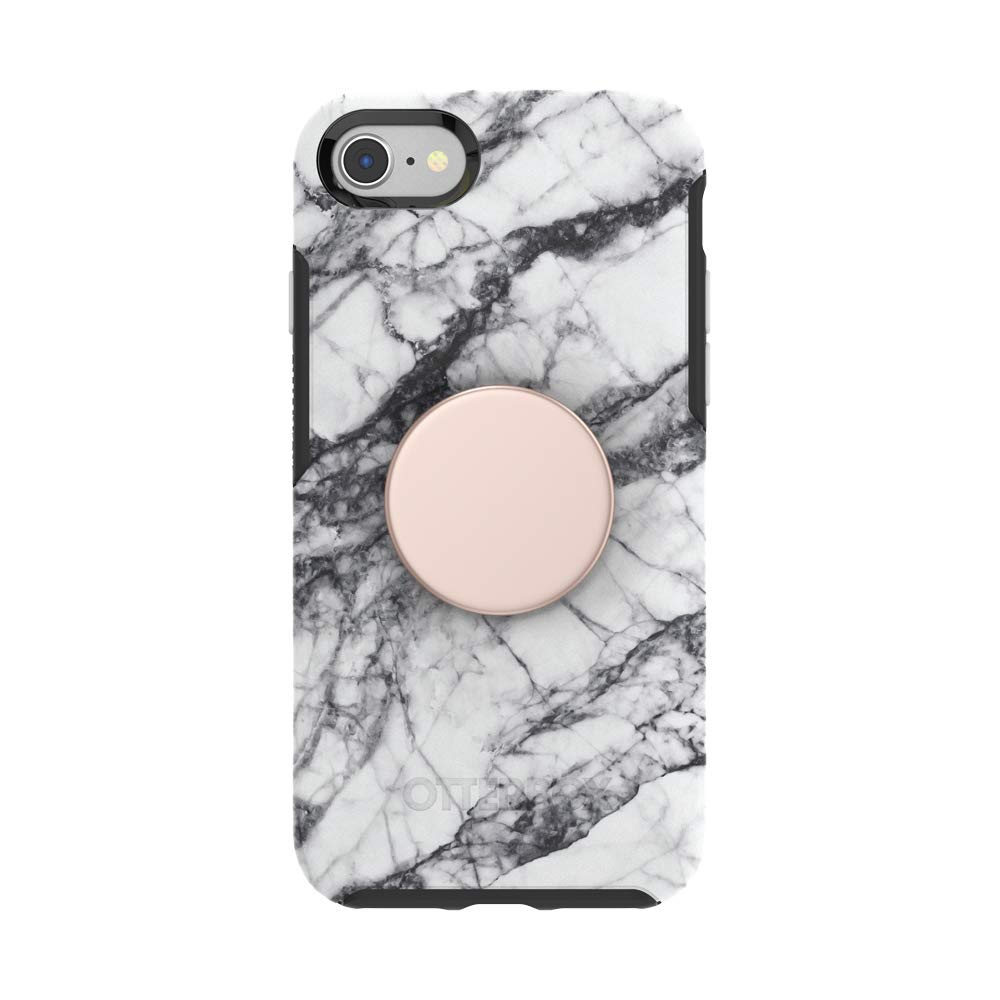 Otter + Pop for iPhone SE, 7 and 8: OtterBox Symmetry Series Case with PopSockets Swappable PopTop - White Marble and Aluminum Rose Gold