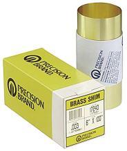 260 Brass Shim Stock, Unpolished (Mill) Finish, H02 Temper, ASTM B19/ASTM B36, 0.10mm Thickness, 150mm Width, 2.5 m Length