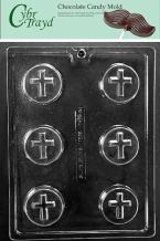 Cybrtrayd R073 Cookie with Cross Chocolate Candy Mold with Exclusive Cybrtrayd Copyrighted Chocolate Molding Instructions plus Optional Candy Packaging Bundles