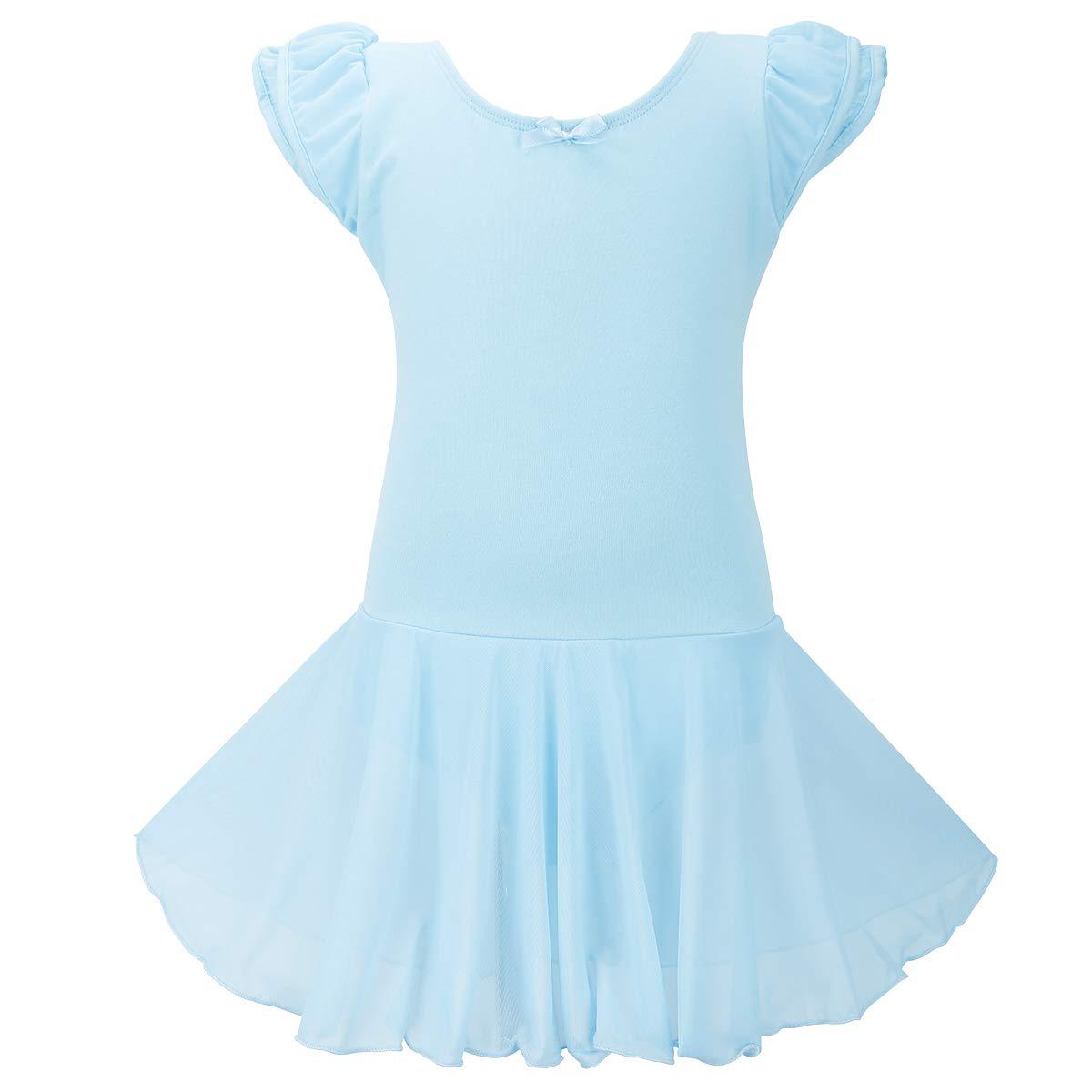 Jane Shine Girl Ballet Skirted Leotard, Flying Sleeve Cotton Ballet Dress with Tulle Skirt for Babies& Girls