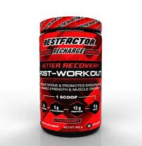BESTFACTOR Recharge Post Workout Recovery Drink Protein Powder with BCAA, Creatine and L-Glutamine. Muscle Building Recovery Powder for Men and Women (Strawberry). Reduce Fatigue - 30 Servings
