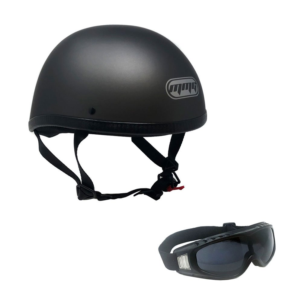 MMG 885 Motorcycle Contoured Half Helmet Cruiser DOT Street Legal - Medium, Titanium Gray with complimentary Smoked Goggles