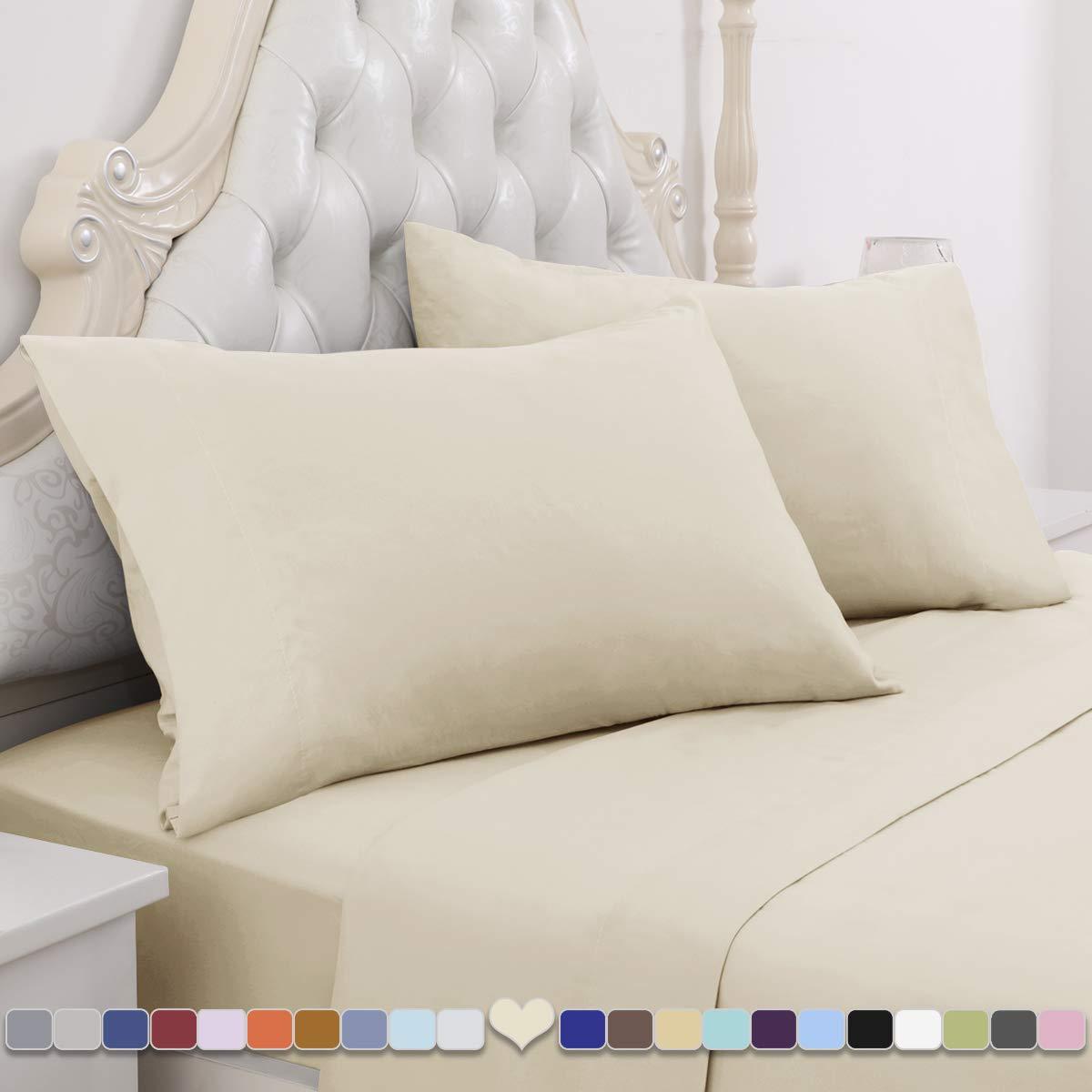 HOMEIDEAS 4 Piece Bed Sheet Set (Queen, Cream=Beige) 100% Brushed Microfiber 1800 Bedding Sheets - Deep Pockets