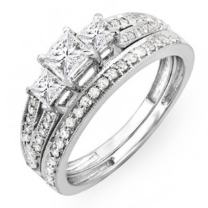 Dazzlingrock Collection 1.00 Carat (ctw) 10K Gold Princess Cut 3 Stone Diamond Ladies Engagement Bridal Ring Set 1 CT