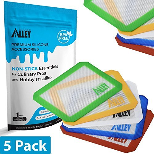 """Non-Stick Wax Mat Pad [5-Pack] / Silicone Nonstick Mat Small Rectangle 5"""" x 4"""" - Colors Exactly as Featured"""