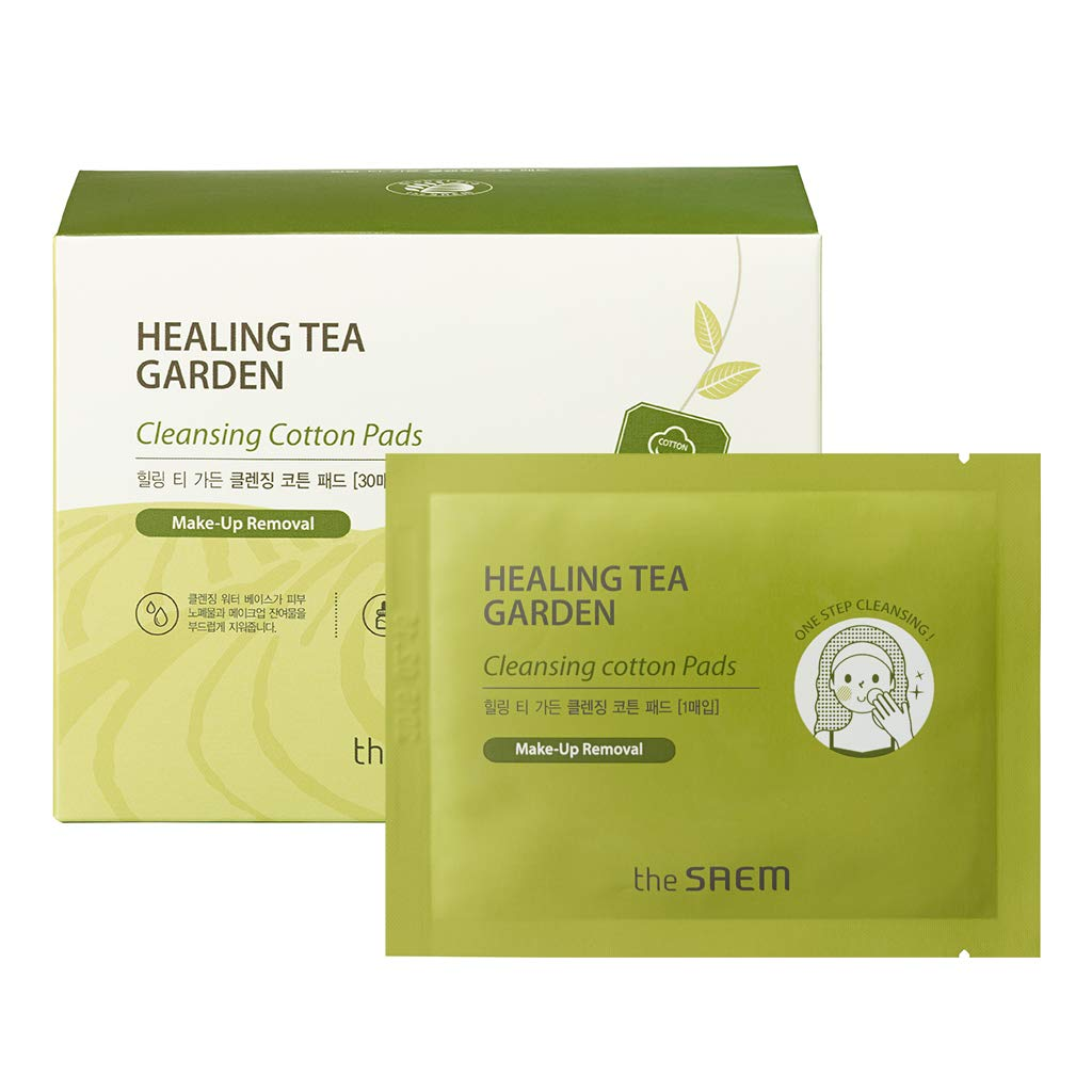 [the SAEM] Healing Tea Garden Cleansing Cotton Pad 30 Sheets - Dual Sided 100% Pure Cotton All in One Makeup Cleansing Tissue Pads, Gentle Exfoliation, Face, Lip, Eye Makeup Remover
