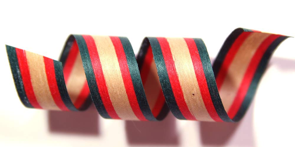 "100% Biodegradable Natural Ribbon | Prints & Stripes | Ribbon for Crafts | Cotton Curling Ribbon | Holiday Ribbon | Wrapping Ribbon | Eco-Friendly Ribbon (Kraft with Red/Forest, 1/2"" x 100 Yards)"