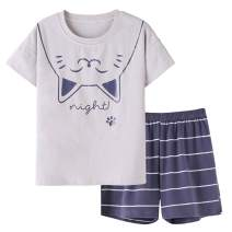 Cute Big Girls Summer Pajamas Set Lovely Rabbit Cotton Soft Pink Bunnies Shorts Sleepwear Set Size 12-18