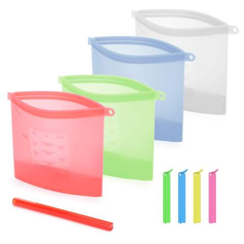 Reusable Silicone Storage Bags&Food Bag Clips,BPA Free,Lunch Bag,Freezer Bag,Baby Food Containers,Sous Vide Bag,Kitchen Storage Bags for Snack,Sandwich,Liquid.BPA Free(4 Bags+4 Sealers)