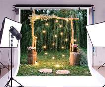 Baocicco 10x10ft Rustic Style Engagement Ceremony Backdrop Stunning Wedding Arch Decorations Twinkle Lights Floral Bouquets Background Wedding Date Valentine's Day Lover Couples Portrait Studio Props