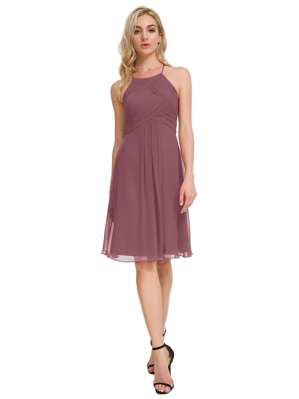 Alicepub Chiffon Bridesmaid Dresses Halter Cocktail Dress Short Homecoming Party Dresses, Dusty Rose, US16