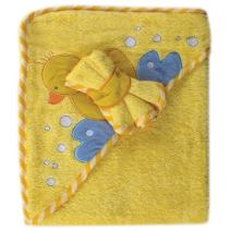 Luvable Friends Unisex Baby Cotton Hooded Towel and Washcloth, Bird, One Size
