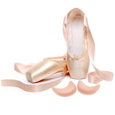 IJONDA Adult Pointe Shoes Pink Ballet Shoes for Girls and Women with Ribbons and 2 Pairs of Toe Pads