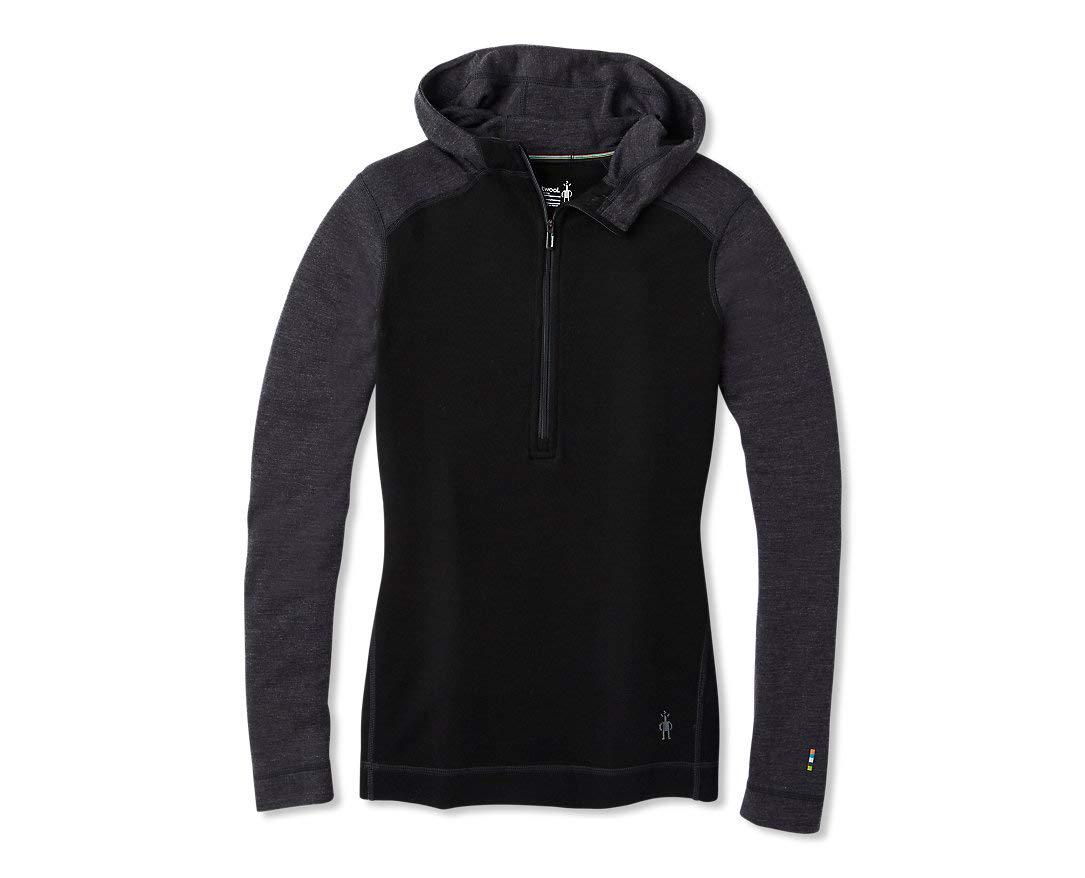 Smartwool Women's Base Layer Top - Merino 250 Wool Active 1/2 Zip Hoodie Black/Light Gray Large