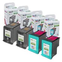 LD Remanufactured Ink Cartridge Replacements for HP 74 & HP 75 (2 Black, 2 Color, 4-Pack)
