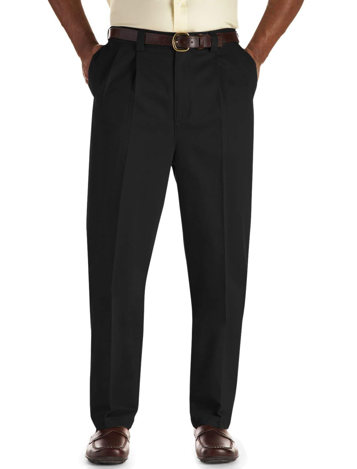 Oak Hill by DXL Big and Tall Pleated Premium Stretch Twill Pants, Black, 58 X 28, Regular Rise