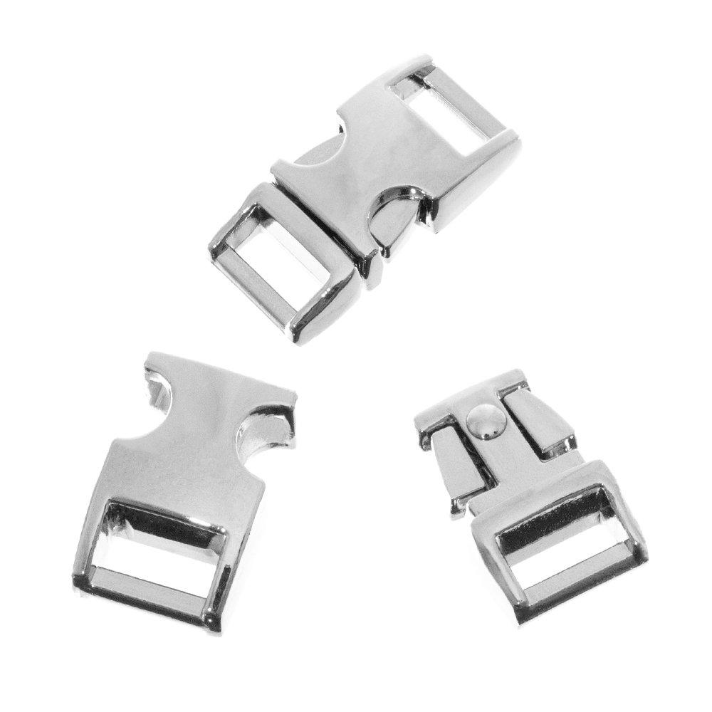 1/2 Inch Silver Alloy Metal Side Release Buckles (10 Pack) - Great for Paracord Bracelets - Clips, Snaps