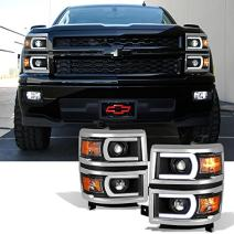 For [U Neon Bar Style] [Black] 2014 2015 Chevy Silverado 1500 LED DRL Projector LH + RH Side Headlights