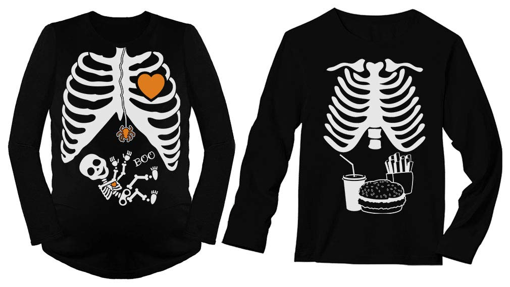 Halloween Matching Couples Shirts Skeleton Maternity Food Men Long Sleeves Set