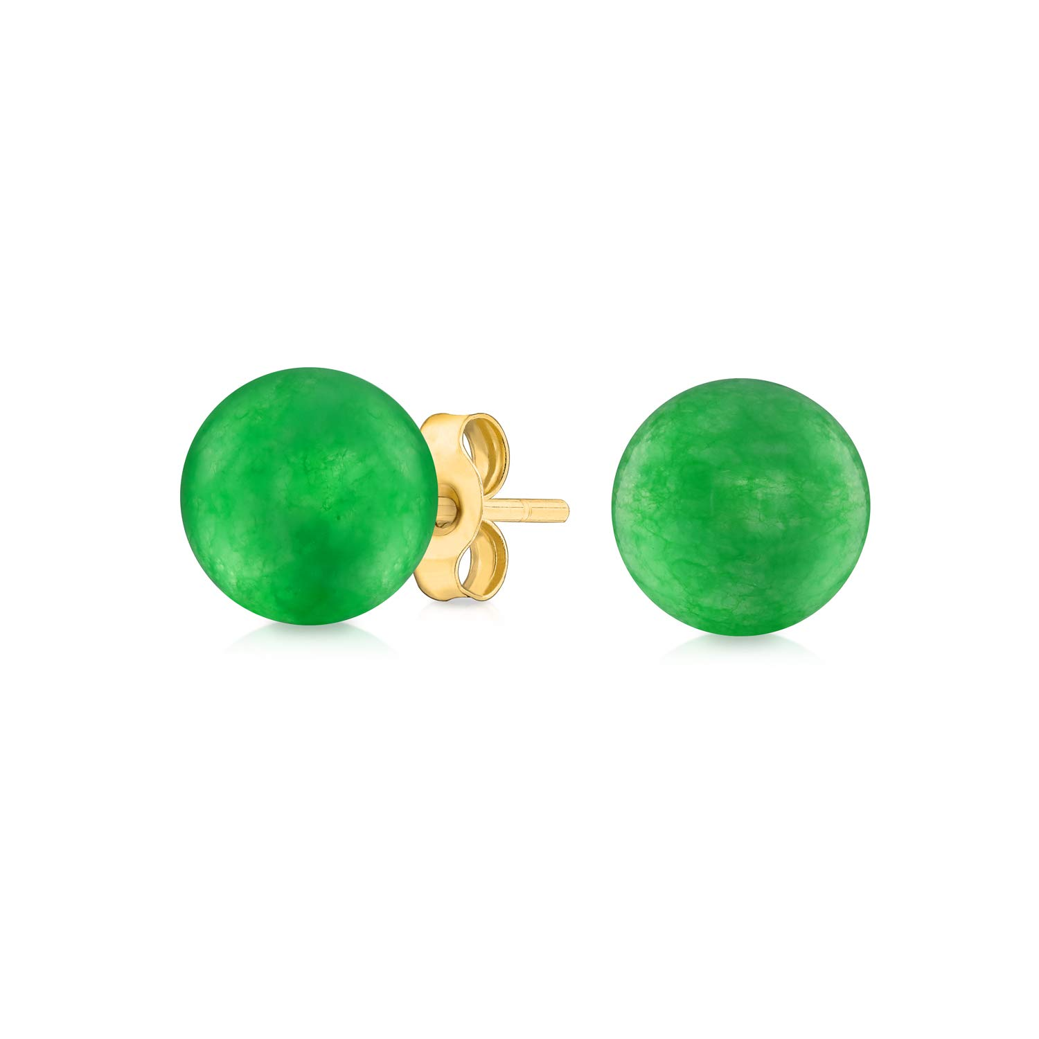 Simple Plain Round Gemstone Bead Ball Stud Earrings For Women For Teen 14K Yellow Real Gold 6mm More Birthstone Colors