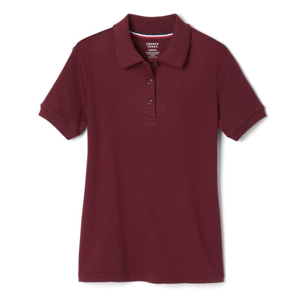 French Toast Girls' Short Sleeve Interlock Polo with Picot Collar