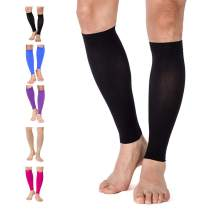 TOFLY Calf Compression Sleeve for Men & Women, 1 Pair, Footless Compression Socks 20-30mmHg for Leg Support, Shin Splint, Pain Relief, Swelling, Varicose Veins, Maternity, Nursing, Travel, Black 3XL