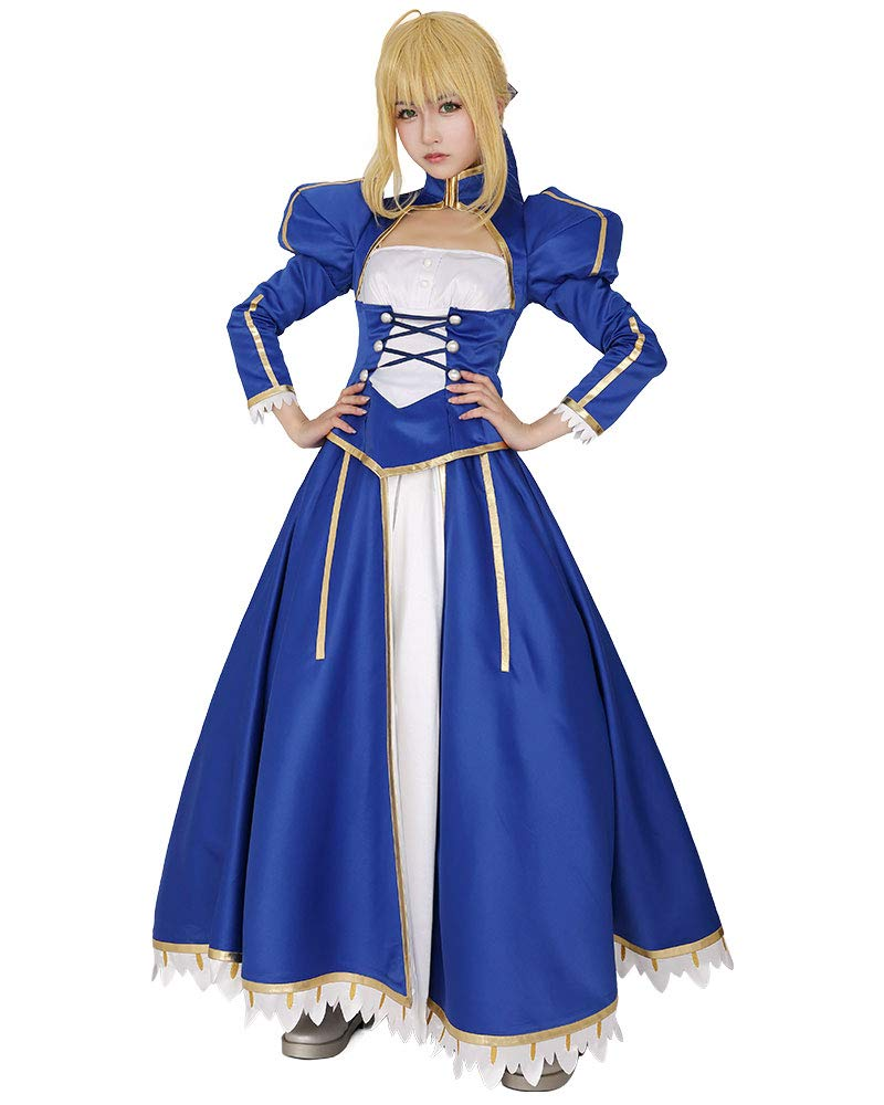 miccostumes Women's Blue Saber Cosplay Costume Outfit Top Skirt
