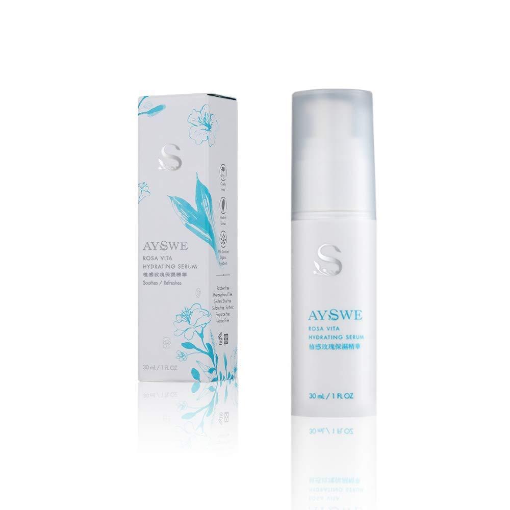 Organic Damask Rose Hydrating & Moisturizing Serum by AYSWE, Fragrance Free, Paraben Free, Clean Beauty - Botanical Facial Moisturizer for Dry & All Skin Types