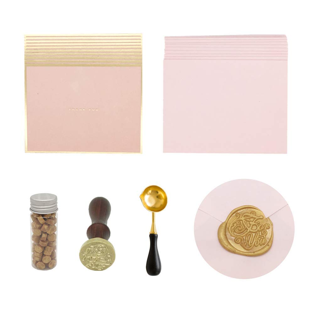 """MultiBey Gold Seal Wax Stamp Sealing Foiled Pink Thanks Gift Card with Envelopes Black Spoon""""for You"""" Graduation Invitation Letter Set"""