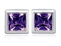 Star K Sterling Silver 8mm Square Cut Earring Studs