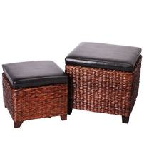 Eshow Ottoman Cube Shaped Storage Ottomans Hassocks and Ottomans as Footrest Stool Ottoman Bench Set with Lift Top and Wood Legs for Bedroom and Living Room Storage 2-Piece