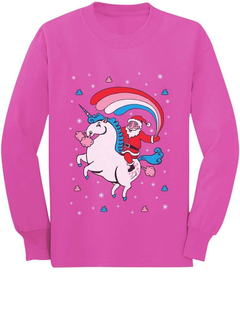 Santa Riding Unicorn Rainbow Ugly Christmas Toddler/Kids Long Sleeve T-Shirt 4T Pink