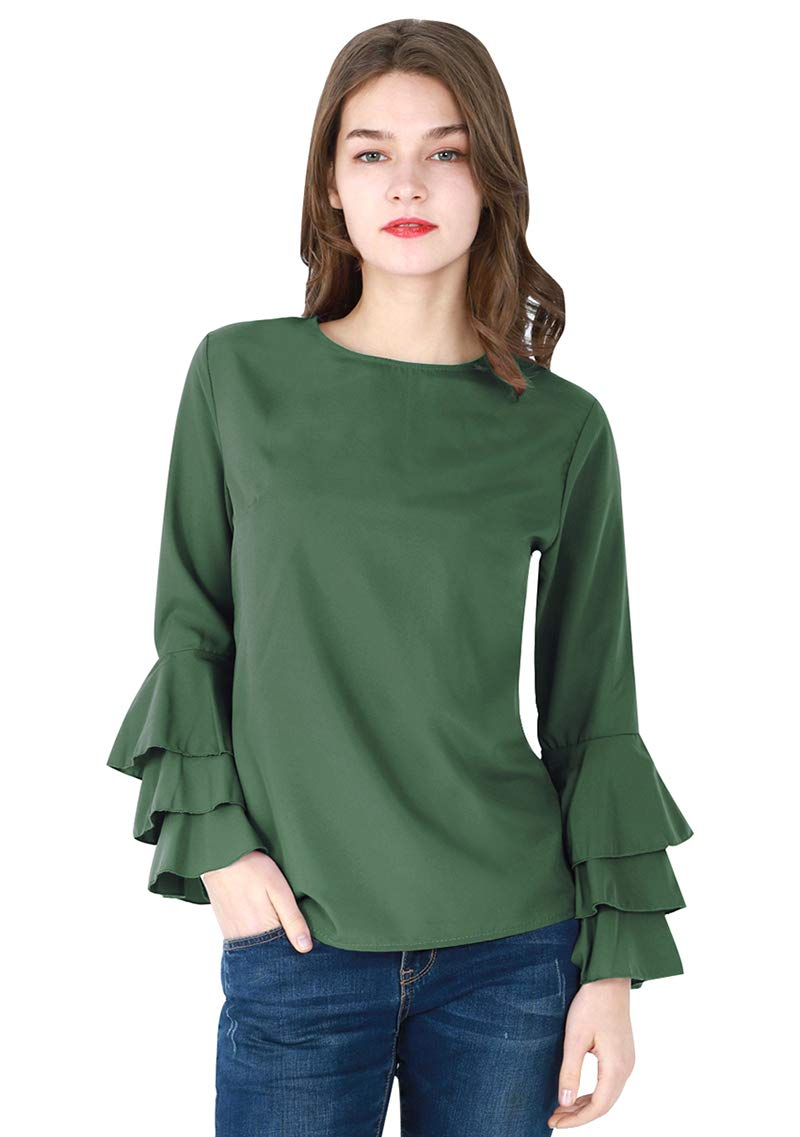 YMING Women's Casual Chiffon Long Ruffle Sleeve Blouse Solid Color Comfy Shirt