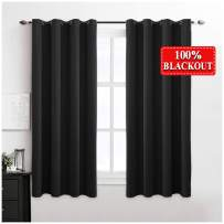 MIULEE 100% Blackout Curtains Thermal Insulated Solid Grommet Curtains/Drapes/Shades for Bedroom Living Room 2 Panels Black 52x54 Inch