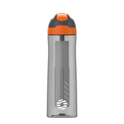 28 oz BPA Free Reusable Plastic Water Bottle for Sports with Flip Top Lid Opard Fruit Infuser Water Bottle Handle Recipes and Cleaning Brush