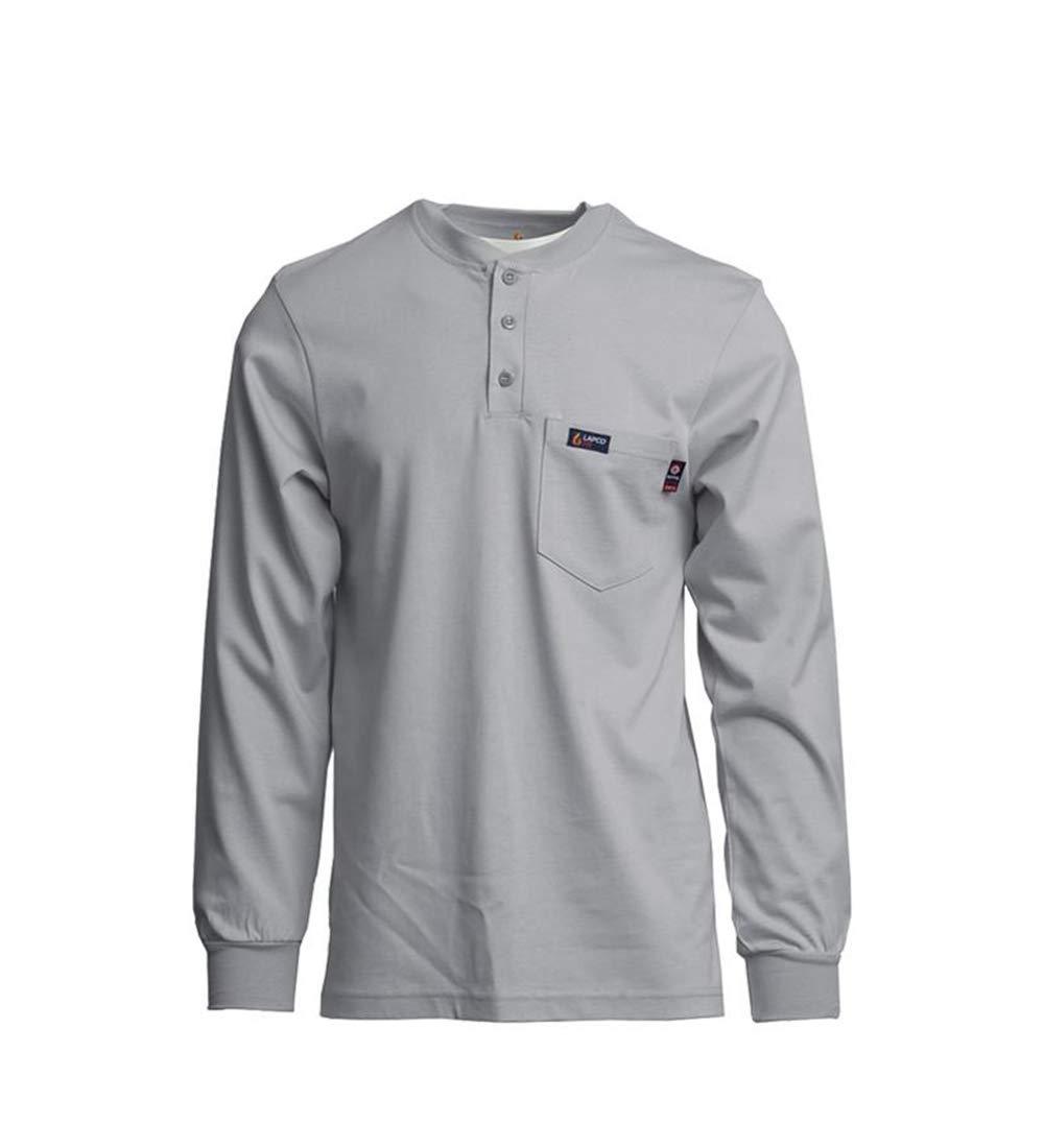 Lapco FR FRT-HJE Gry 2XL Flame Resistant Henley Tees, 100% Cotton Jersey Knit, HRC 2, NFPA 70E, 7 oz, XX-Large, Gray