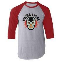 Lucha Libre Retro Mexican Wrestler Wrestling Red 3XL Raglan Baseball Tee Shirt