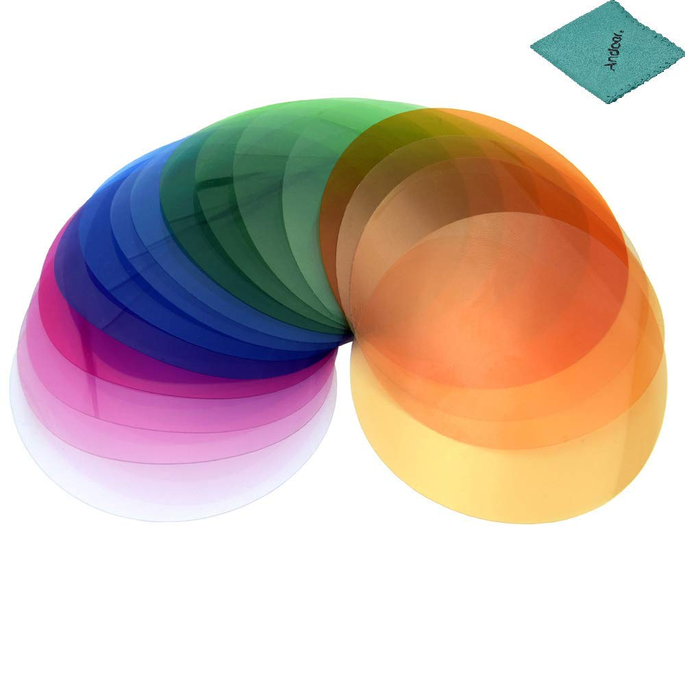 Godox V-11T Color Filters Kit Color Gels Filters 16 2 Compatible with Godox V1 Series Camera Round Head Flashes