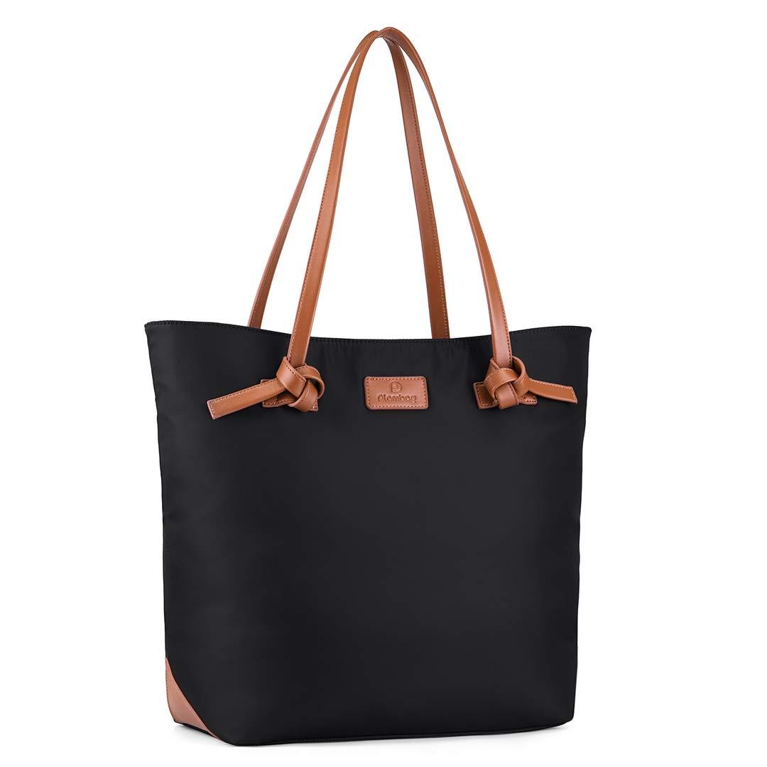 Plambag Women's Tote Work Bag, Water Resistant Shoulder Bag with Adjustable Shoulder Strap(Black)