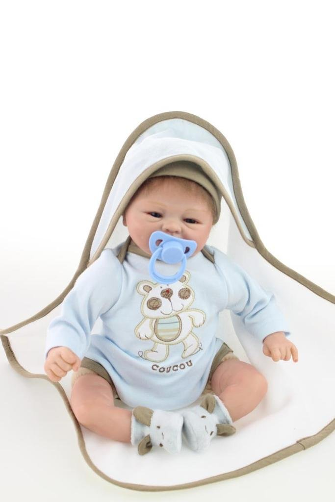 Nicery Reborn Baby Doll Soft Simulation Silicone Vinyl Cloth Body 16 inch 40 cm Magnetic Mouth Lifelike Vivid Boy Girl Toy for Ages 3+ Blue Bear RD40C004