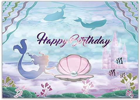 Allenjoy 7x5ft Little Mermaid Birthday Party Backdrop Under The Sea Glittering Mermaid Scales Pearl Necklace Pink Seashell Purple Cake Table Banner Baby Girl Photography Background Photo Booth Props