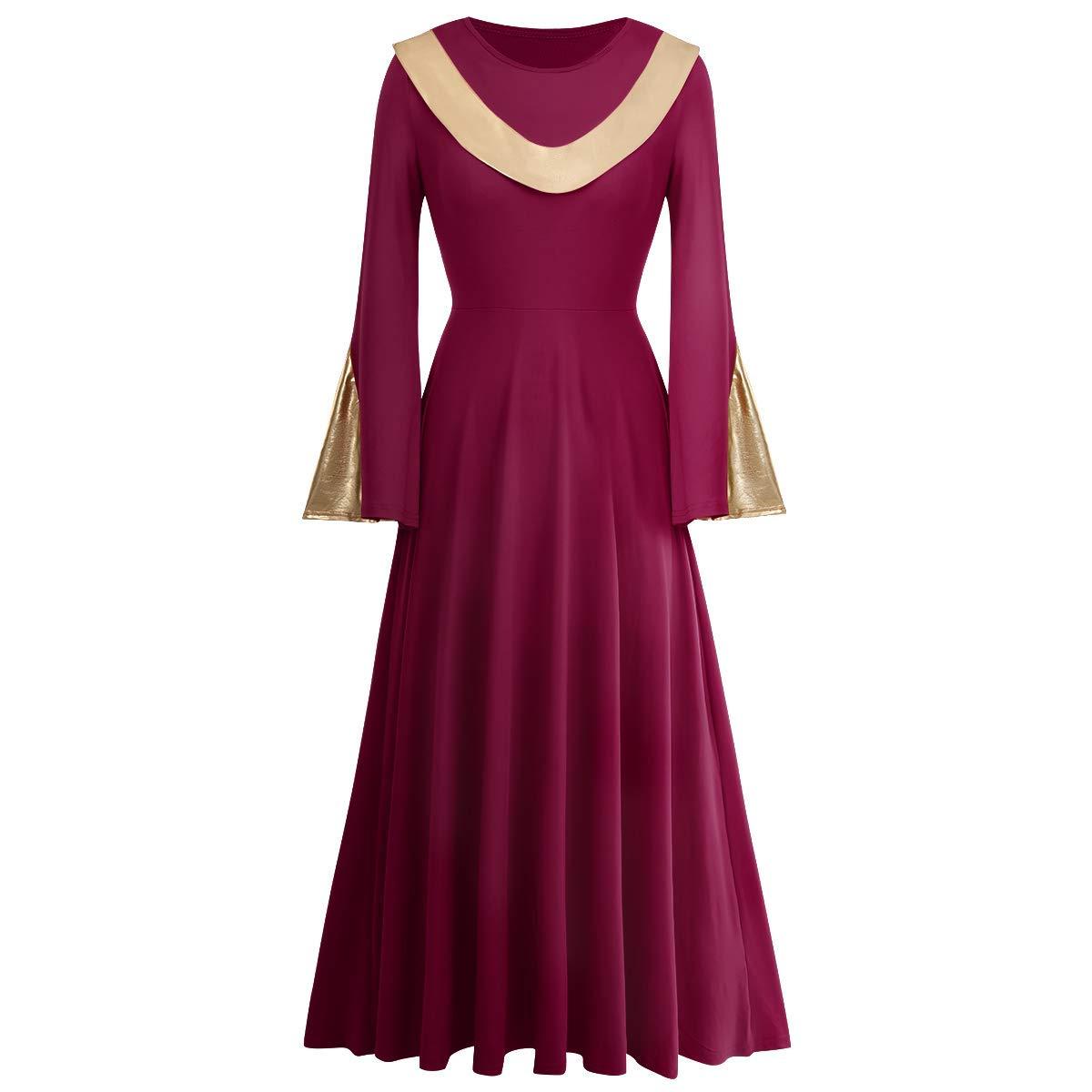 IBAKOM Women Metallic Gold Liturgical Praise Dance Worship Dress Long Sleeve Loose Fit Full Length Dancewear Tunic Costume