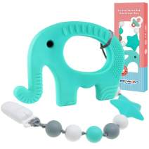 Panny & Mody Baby Teething Toys, BPA Free Soft Silicone Elephant Teether with Clip - Easy to Hold, Organic, Freezer Friendly - Baby Shower Gift for Boys Girls(Green)