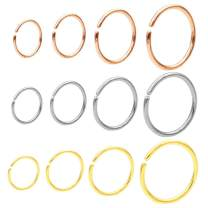 JOFUKIN Seamless Nose Rings Hoop Septum Ring Piercing Earrings for Women for Helix Daith Rook Tragus Conch Lip Men's Body Jewelry 22g/20g/18g - 6mm/8mm/10mm/12mm - Silver/Gold/Rose Gold