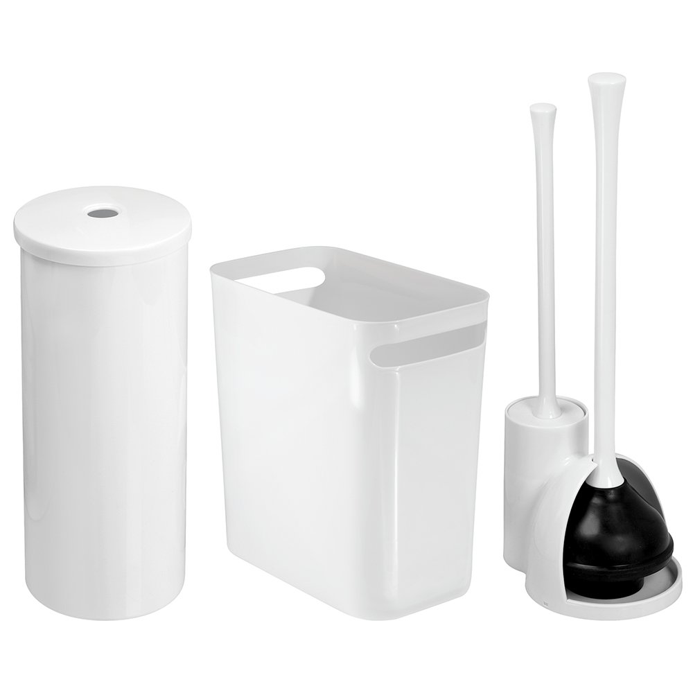 iDesign InterDesign Brush/Plunger, Toilet Paper Holder, Wastebasket Trash Can-Set of 3, White UNA Bowl Brush & Plunger C3, Combo Set, 3 Piece