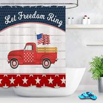 LB Let Freedom Ring Independence Shower Curtain Watercolor Red Truck Pulling American Flag Curtains with Patriotic Stars US Bathroom Curtain 60x72 Inch Waterproof Polyester Fabric with 10 Hooks