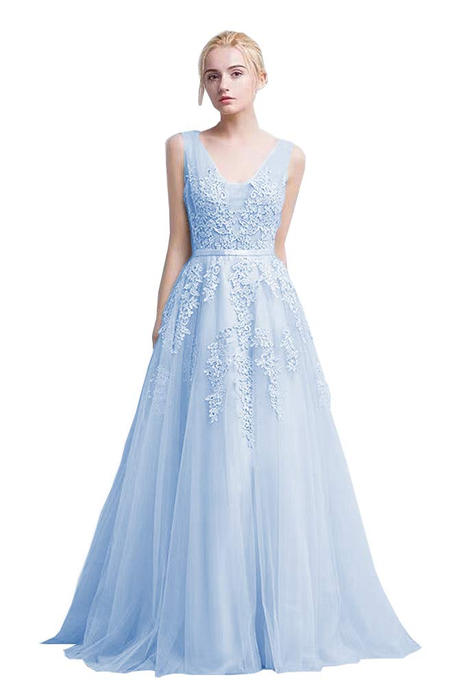 Nicefashion Women's Elegant V Neck Elegant Long Lace Evening Dress Semi Formal Prom Gowns Light Blue US14